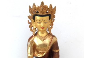 32cm Copper Crowned Buddha with part gold plate
