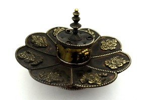 Copper Lotus shaped incense burner.