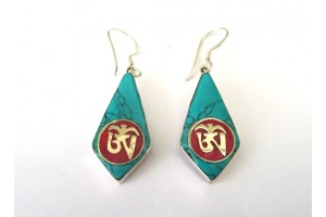 "Long silver ""Om"" earrings"