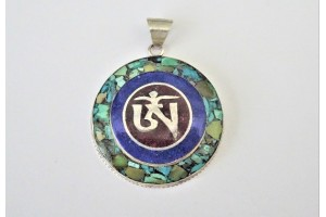 Silver Om pendant with Turquoise and Lapis