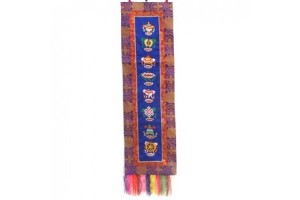 Embroidered auspicious symbols Blue