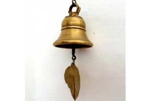 Nepalese brass hanging bell for outdoors