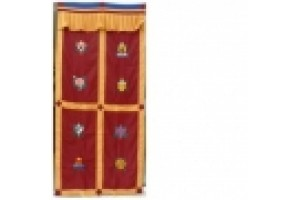 Maroon Door Curtain with Auspicious Symbols