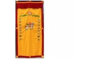Windhorse Embroidered Door Curtain Yellow