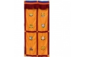 Yellow Door Curtain with Auspicious Symbols