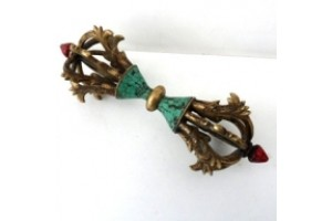 Large brass eight line vajra with turquoise