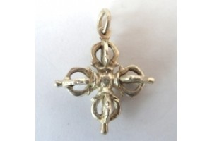 Silver plated double vajra pendant