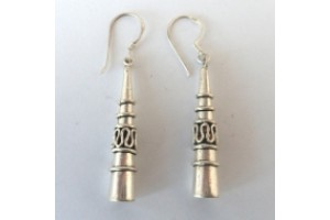 Long solid silver Tibetan style earrings