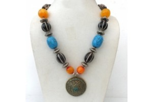 Tibetan necklace with large brass and Turquoise pendant