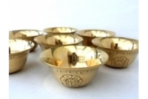 Large Engraved Brass Offering Bowls