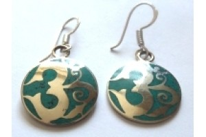 White Metal Om earrings