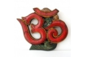 Red Wooden Om Wall hanging