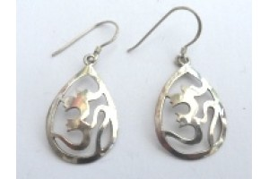 Om Earrings small -silver