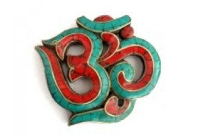 Wooden Om withTurquoise
