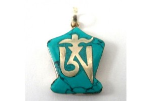 Small Silver and Turquoise Om pendant