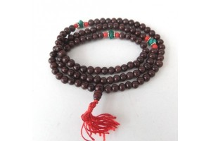 Rosewood mala with turquoise